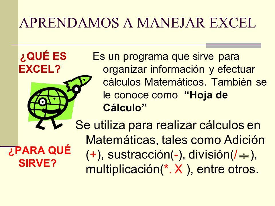APRENDAMOS A MANEJAR EXCEL ¿QUÉ ES EXCEL? ¿PARA QUÉ SIRVE? Es un programa que sirve para organizar información y efectuar cálculos Matemáticos. Tambié