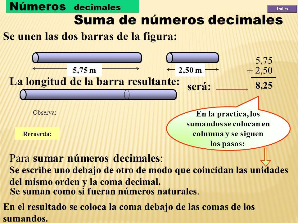 Un número decimal se puede descomponer de varias formas. Veamos algunas: NúmeroDescomposiciónLectura 2,375 2,375 2,375 2 + 0,3 + 0,07 + 0,005 2 unidad
