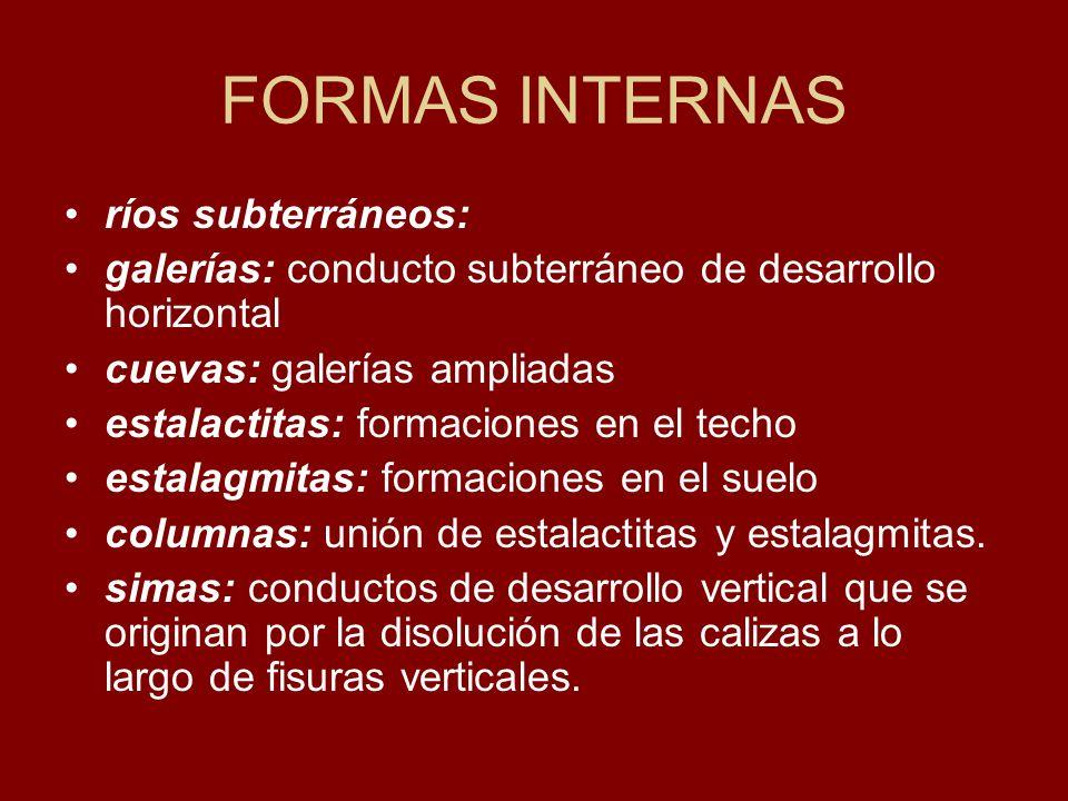 FORMAS INTERNAS ríos subterráneos: galerías: conducto subterráneo de desarrollo horizontal cuevas: galerías ampliadas estalactitas: formaciones en el