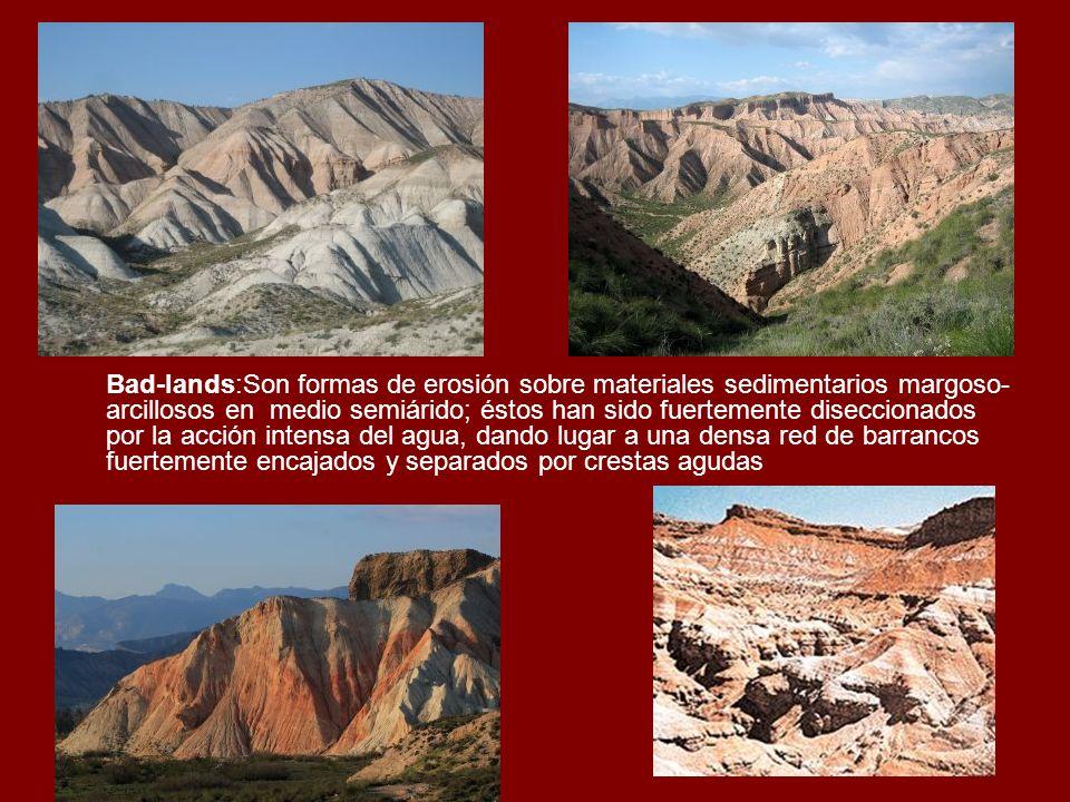 Bad-lands:Son formas de erosión sobre materiales sedimentarios margoso- arcillosos en medio semiárido; éstos han sido fuertemente diseccionados por la