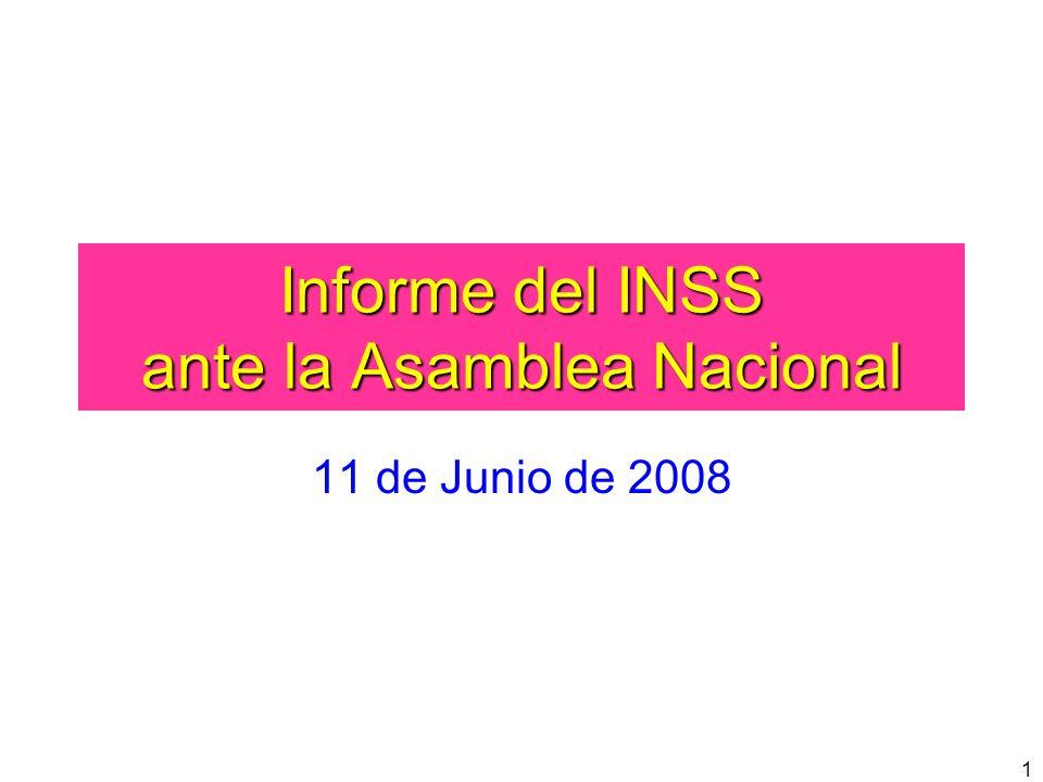 1 Informe del INSS ante la Asamblea Nacional 11 de Junio de 2008