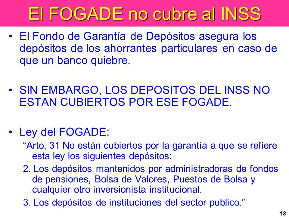18 El FOGADE no cubre al INSS El Fondo de Garantía de Depósitos asegura los depósitos de los ahorrantes particulares en caso de que un banco quiebre.