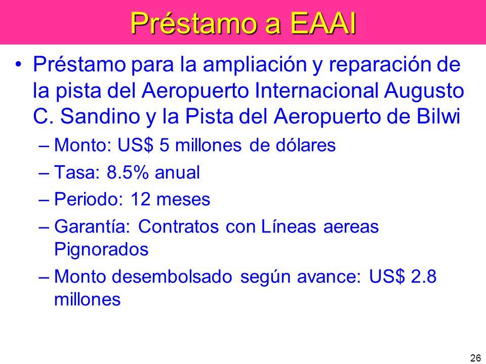 26 Préstamo a EAAI Préstamo para la ampliación y reparación de la pista del Aeropuerto Internacional Augusto C. Sandino y la Pista del Aeropuerto de B