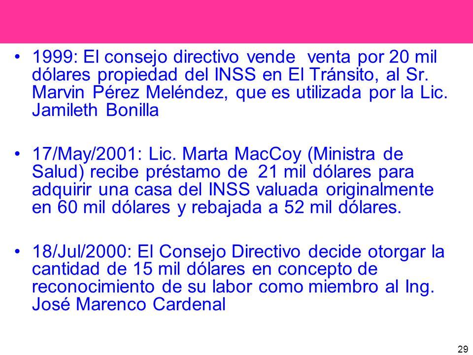 29 1999: El consejo directivo vende venta por 20 mil dólares propiedad del INSS en El Tránsito, al Sr. Marvin Pérez Meléndez, que es utilizada por la
