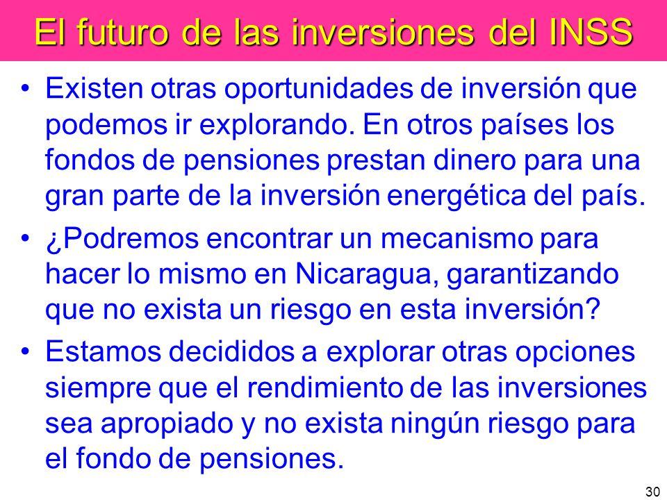 30 El futuro de las inversiones del INSS Existen otras oportunidades de inversión que podemos ir explorando. En otros países los fondos de pensiones p