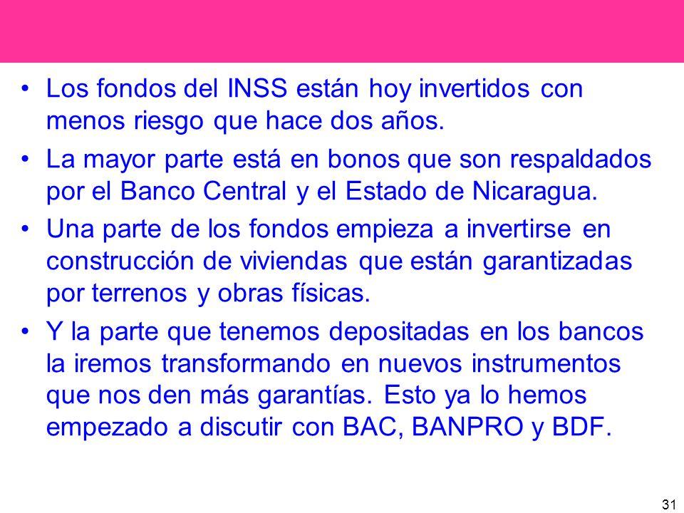 31 Los fondos del INSS están hoy invertidos con menos riesgo que hace dos años. La mayor parte está en bonos que son respaldados por el Banco Central