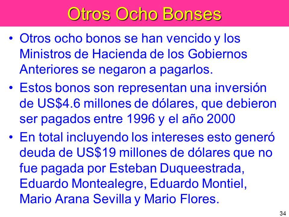 34 Otros Ocho Bonses Otros ocho bonos se han vencido y los Ministros de Hacienda de los Gobiernos Anteriores se negaron a pagarlos. Estos bonos son re