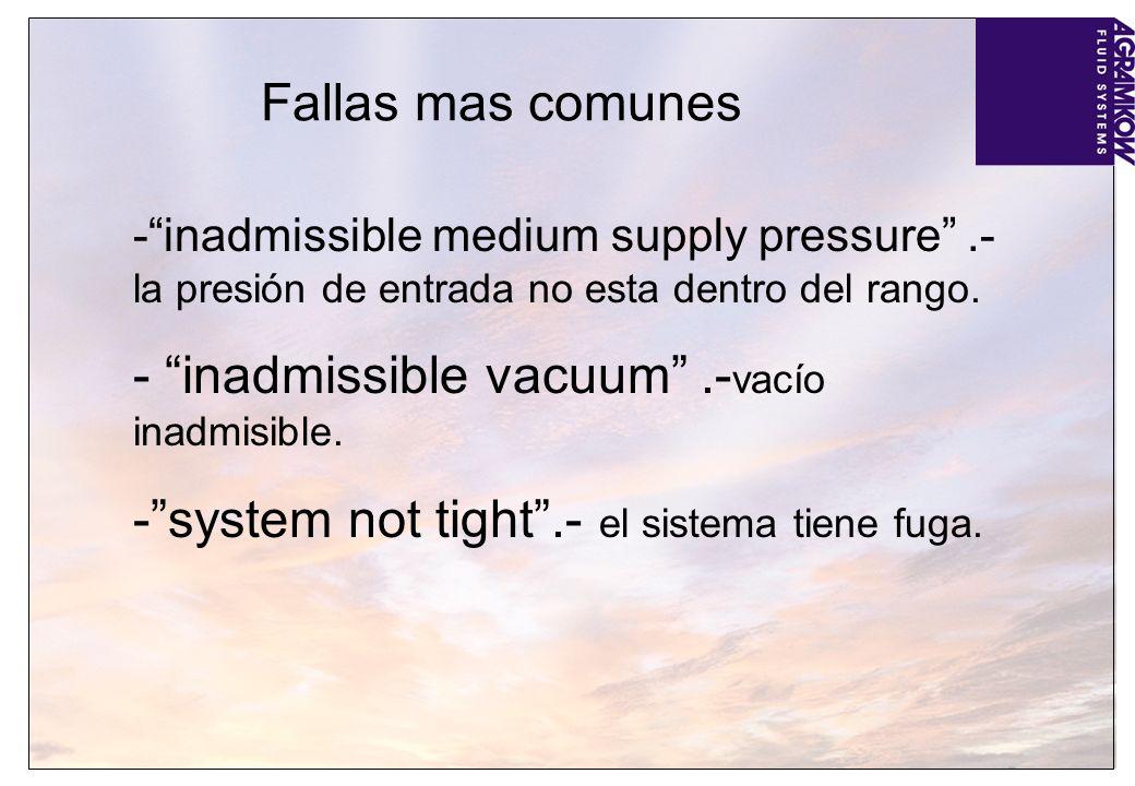 Fallas mas comunes -inadmissible medium supply pressure.- la presión de entrada no esta dentro del rango. - inadmissible vacuum.- vacío inadmisible. -