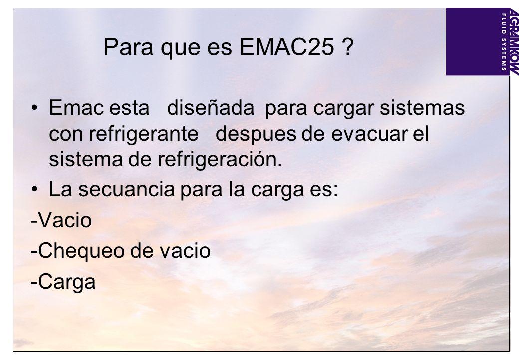 Para que es EMAC25 ? Emac esta diseñada para cargar sistemas con refrigerante despues de evacuar el sistema de refrigeración. La secuancia para la car