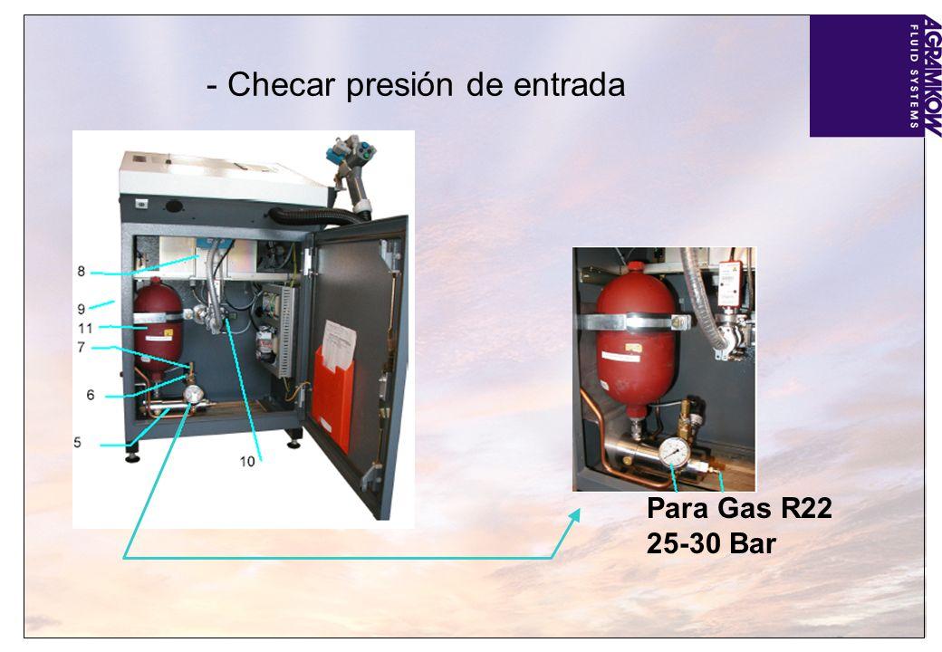 - Checar presión de entrada Para Gas R22 25-30 Bar