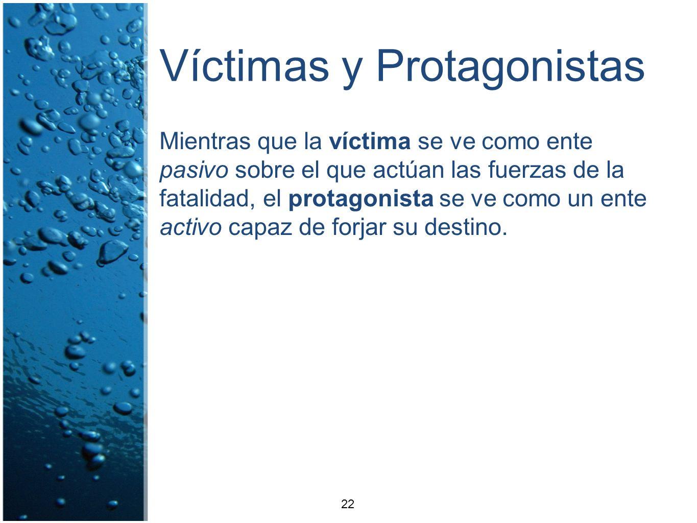 Víctimas y Protagonistas Mientras que la víctima se ve como ente pasivo sobre el que actúan las fuerzas de la fatalidad, el protagonista se ve como un
