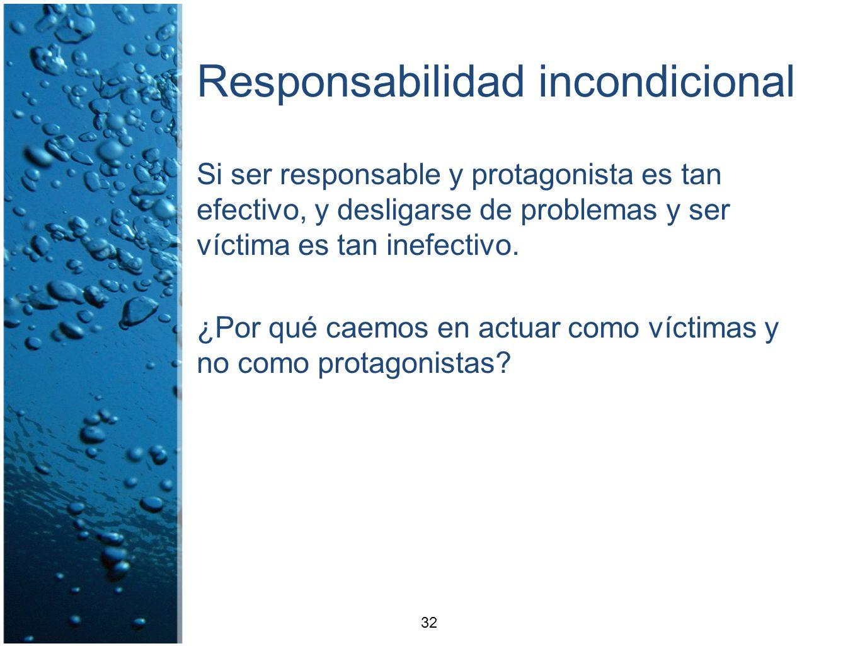 Responsabilidad incondicional Si ser responsable y protagonista es tan efectivo, y desligarse de problemas y ser víctima es tan inefectivo. ¿Por qué c