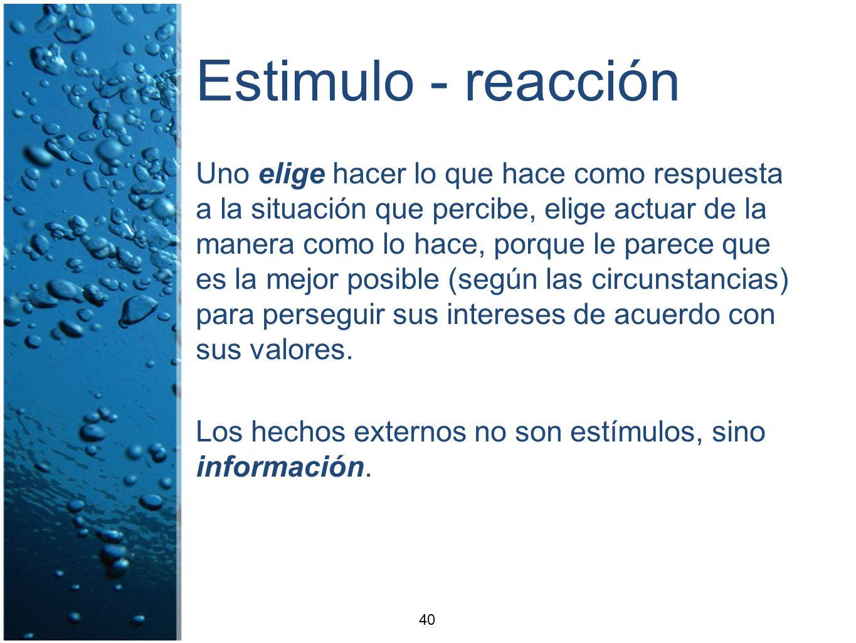 Estimulo - reacción Uno elige hacer lo que hace como respuesta a la situación que percibe, elige actuar de la manera como lo hace, porque le parece qu