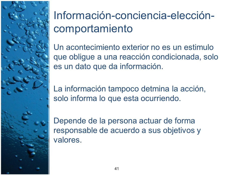 Información-conciencia-elección- comportamiento Un acontecimiento exterior no es un estimulo que obligue a una reacción condicionada, solo es un dato