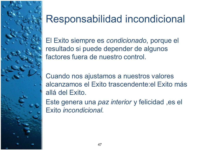Responsabilidad incondicional El Exito siempre es condicionado, porque el resultado si puede depender de algunos factores fuera de nuestro control. Cu