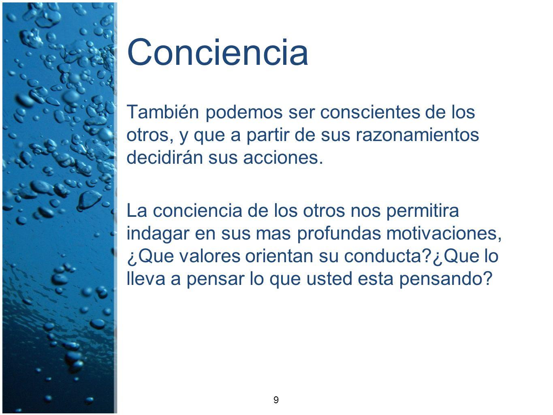 Conciencia También podemos ser conscientes de los otros, y que a partir de sus razonamientos decidirán sus acciones. La conciencia de los otros nos pe