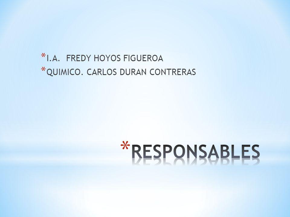* I.A. FREDY HOYOS FIGUEROA * QUIMICO. CARLOS DURAN CONTRERAS