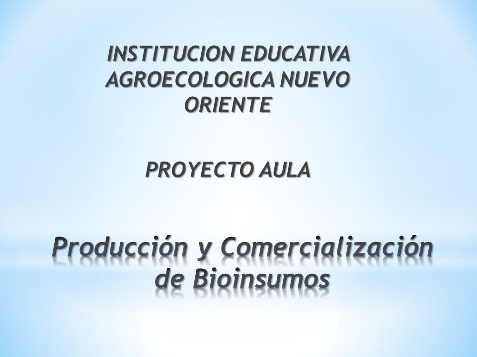INSTITUCION EDUCATIVA AGROECOLOGICA NUEVO ORIENTE PROYECTO AULA
