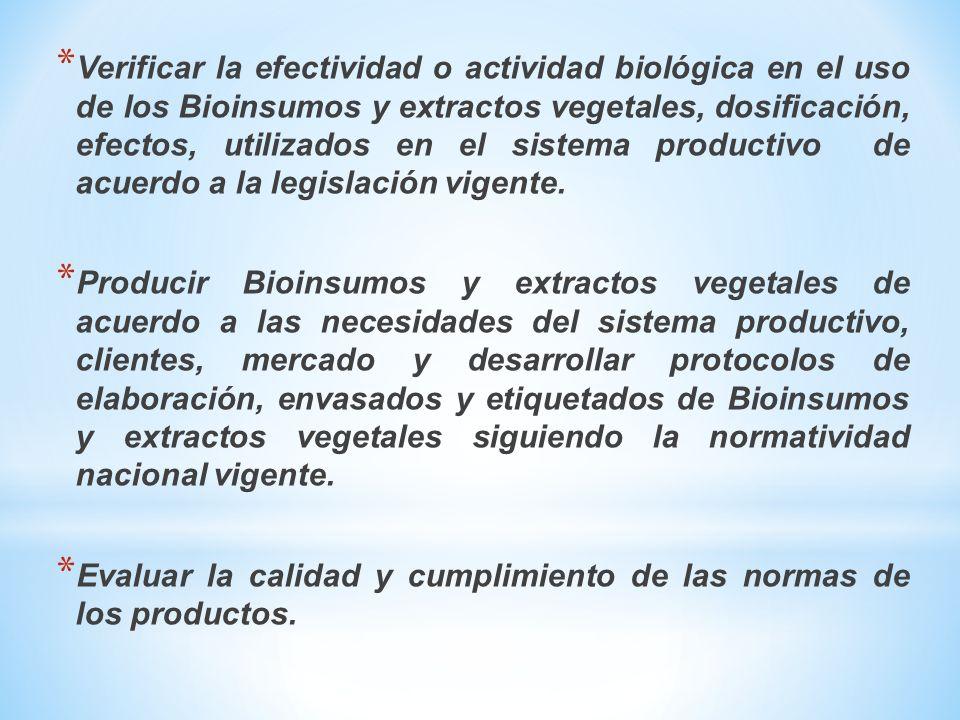 * Verificar la efectividad o actividad biológica en el uso de los Bioinsumos y extractos vegetales, dosificación, efectos, utilizados en el sistema productivo de acuerdo a la legislación vigente.
