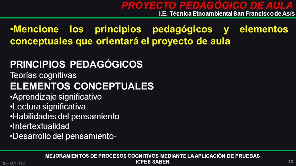PROYECTO PEDAGÓGICO DE AULA MEJORAMIENTOS DE PROCESOS COGNITIVOS MEDIANTE LA APLICACIÓN DE PRUEBAS ICFES SABER 08/02/2014 10 I.E. Técnica Etnoambienta