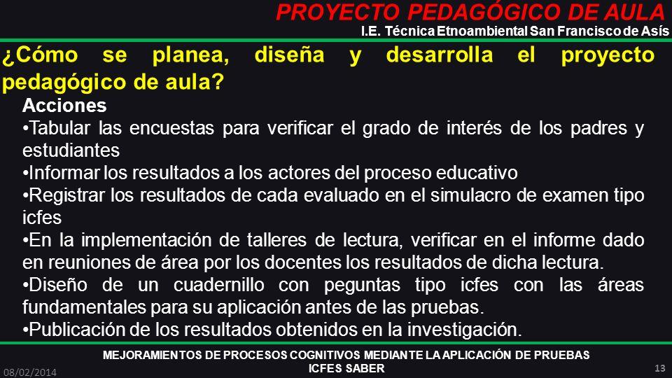 PROYECTO PEDAGÓGICO DE AULA MEJORAMIENTOS DE PROCESOS COGNITIVOS MEDIANTE LA APLICACIÓN DE PRUEBAS ICFES SABER 08/02/2014 13 I.E. Técnica Etnoambienta