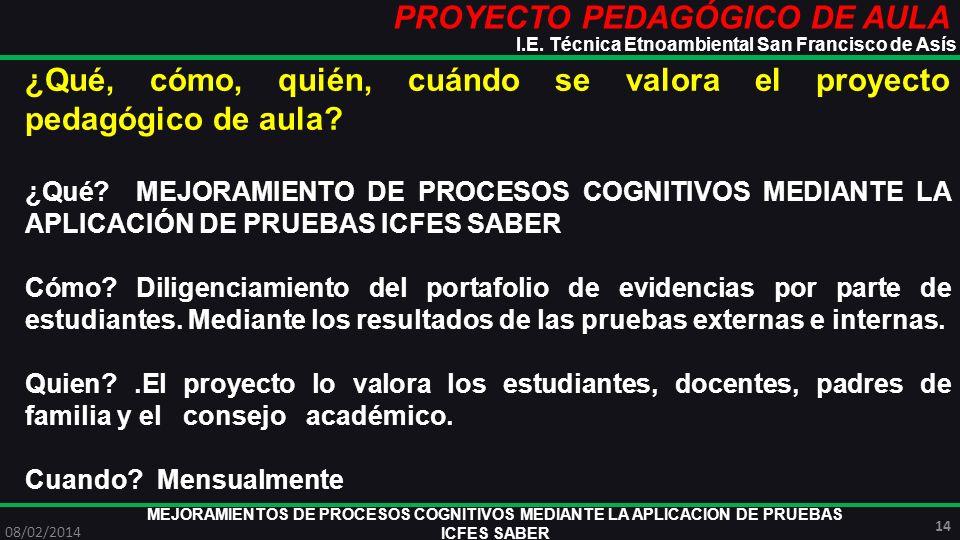 PROYECTO PEDAGÓGICO DE AULA MEJORAMIENTOS DE PROCESOS COGNITIVOS MEDIANTE LA APLICACIÓN DE PRUEBAS ICFES SABER 08/02/2014 14 I.E. Técnica Etnoambienta