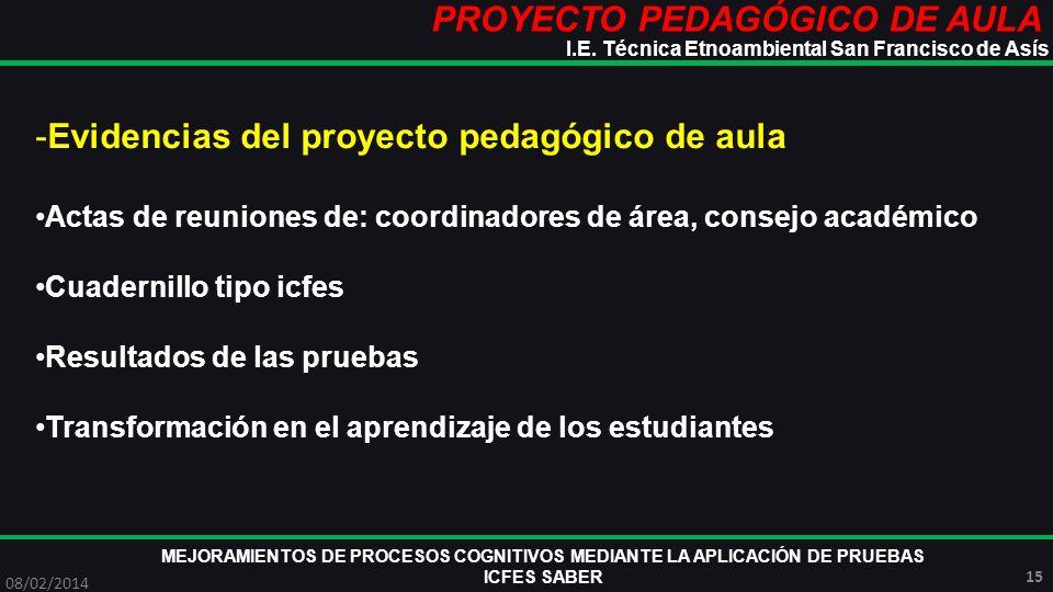 PROYECTO PEDAGÓGICO DE AULA MEJORAMIENTOS DE PROCESOS COGNITIVOS MEDIANTE LA APLICACIÓN DE PRUEBAS ICFES SABER 08/02/2014 15 I.E. Técnica Etnoambienta