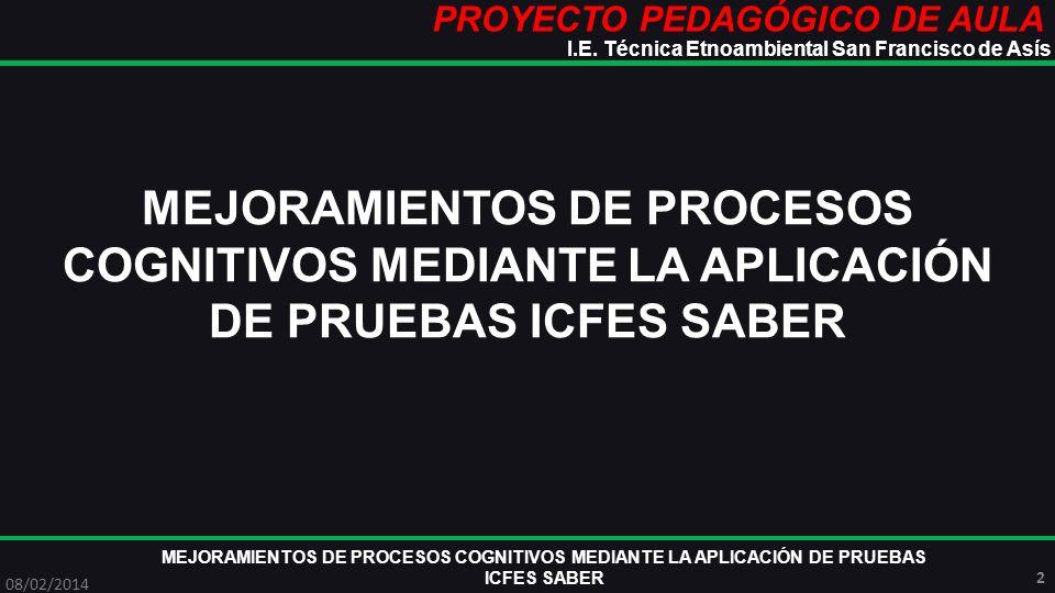 PROYECTO PEDAGÓGICO DE AULA MEJORAMIENTOS DE PROCESOS COGNITIVOS MEDIANTE LA APLICACIÓN DE PRUEBAS ICFES SABER 08/02/2014 13 I.E.