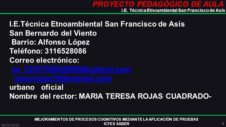 PROYECTO PEDAGÓGICO DE AULA MEJORAMIENTOS DE PROCESOS COGNITIVOS MEDIANTE LA APLICACIÓN DE PRUEBAS ICFES SABER 08/02/2014 14 I.E.