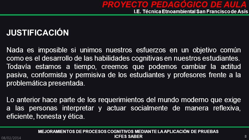 PROYECTO PEDAGÓGICO DE AULA MEJORAMIENTOS DE PROCESOS COGNITIVOS MEDIANTE LA APLICACIÓN DE PRUEBAS ICFES SABER 08/02/2014 8 I.E. Técnica Etnoambiental