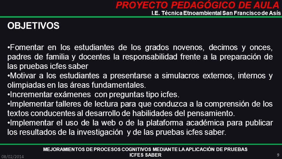 PROYECTO PEDAGÓGICO DE AULA MEJORAMIENTOS DE PROCESOS COGNITIVOS MEDIANTE LA APLICACIÓN DE PRUEBAS ICFES SABER 08/02/2014 10 I.E.