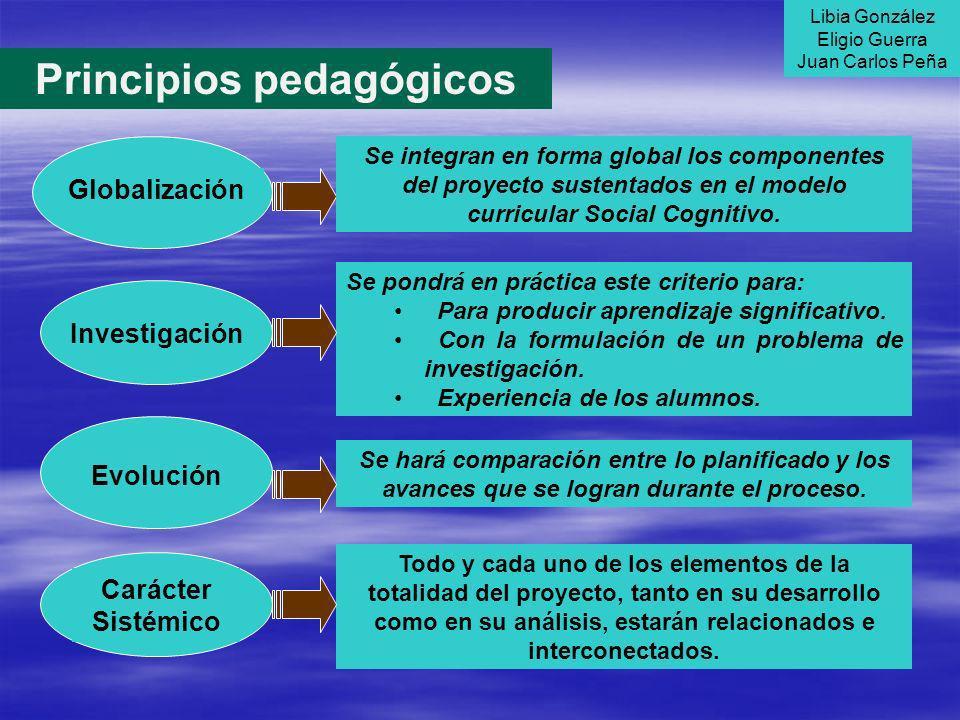 Principios pedagógicos Investigación Se pondrá en práctica este criterio para: Para producir aprendizaje significativo. Con la formulación de un probl