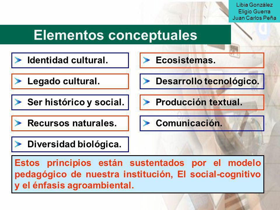 Elementos conceptuales Identidad cultural. Legado cultural. Ser histórico y social. Recursos naturales. Diversidad biológica. Desarrollo tecnológico.