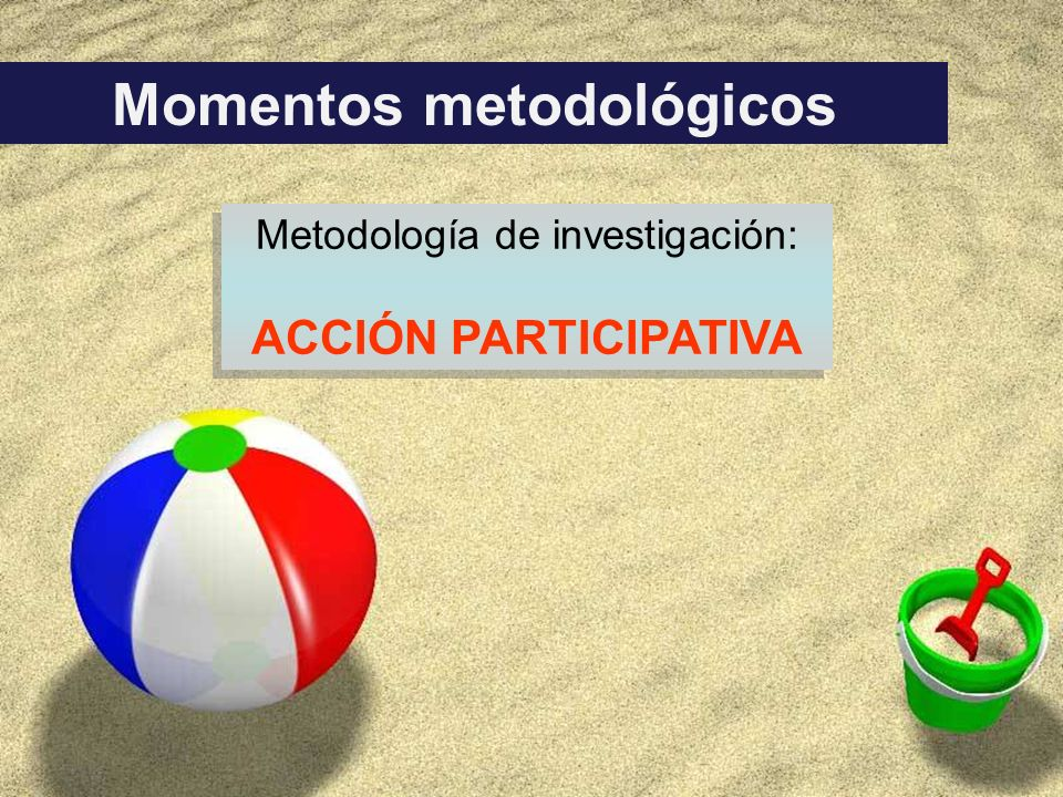 Momentos metodológicos Metodología de investigación: ACCIÓN PARTICIPATIVA Metodología de investigación: ACCIÓN PARTICIPATIVA