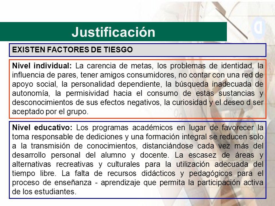Justificación EXISTEN FACTORES DE TIESGO Nivel individual: La carencia de metas, los problemas de identidad, la influencia de pares, tener amigos cons