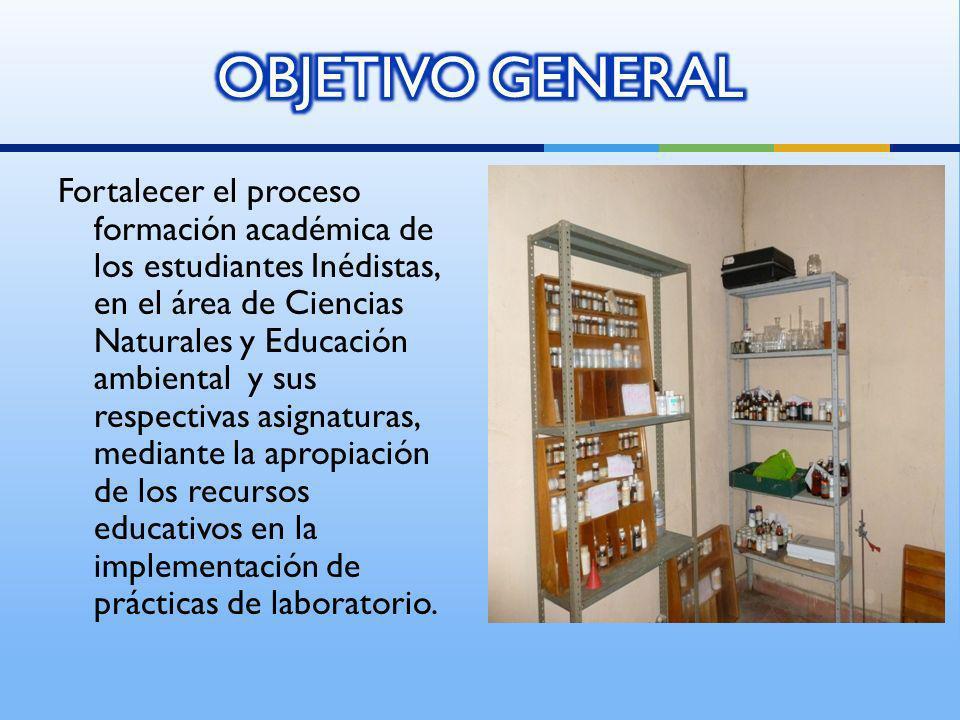Fortalecer el proceso formación académica de los estudiantes Inédistas, en el área de Ciencias Naturales y Educación ambiental y sus respectivas asign