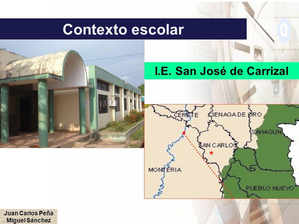 Contexto escolar I.E. San José de Carrizal Juan Carlos Peña Miguel Sánchez