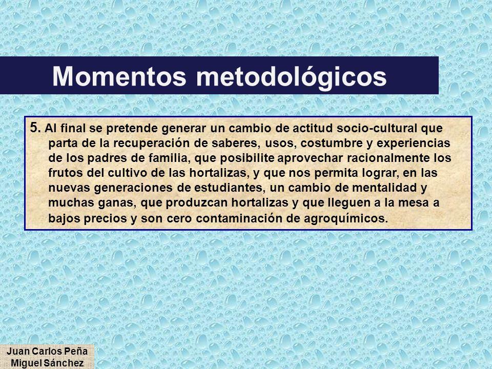 5. Al final se pretende generar un cambio de actitud socio-cultural que parta de la recuperación de saberes, usos, costumbre y experiencias de los pad