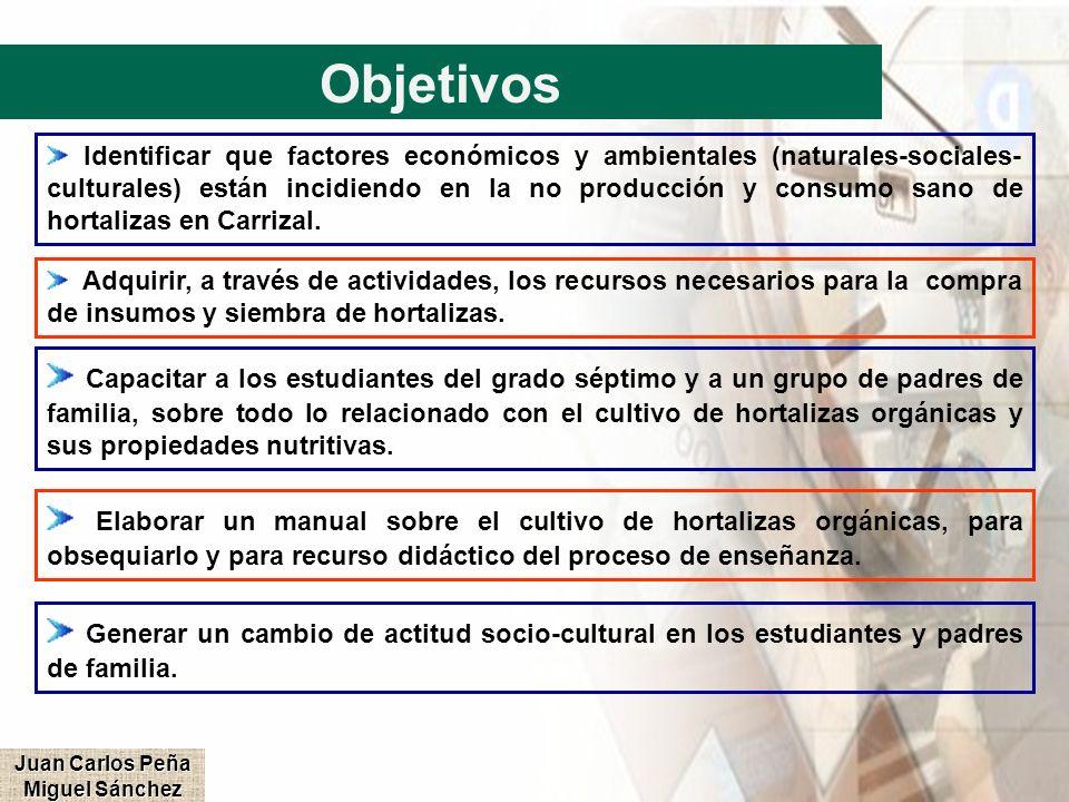 Objetivos Identificar que factores económicos y ambientales (naturales-sociales- culturales) están incidiendo en la no producción y consumo sano de ho