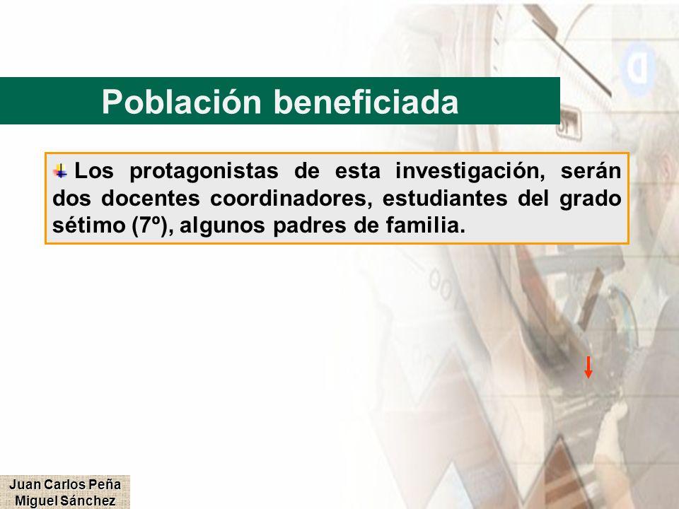 Población beneficiada Los protagonistas de esta investigación, serán dos docentes coordinadores, estudiantes del grado sétimo (7º), algunos padres de
