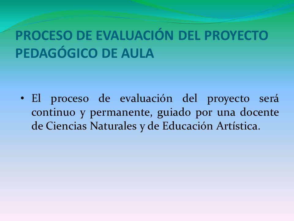 PROCESO DE EVALUACIÓN DEL PROYECTO PEDAGÓGICO DE AULA El proceso de evaluación del proyecto será continuo y permanente, guiado por una docente de Cien