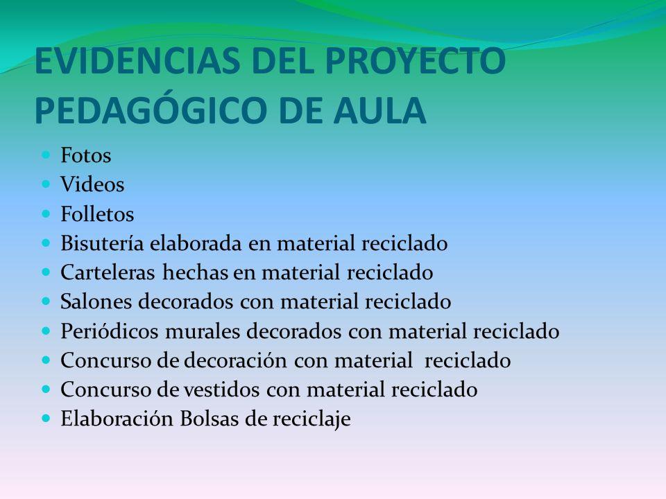 EVIDENCIAS DEL PROYECTO PEDAGÓGICO DE AULA Fotos Videos Folletos Bisutería elaborada en material reciclado Carteleras hechas en material reciclado Sal