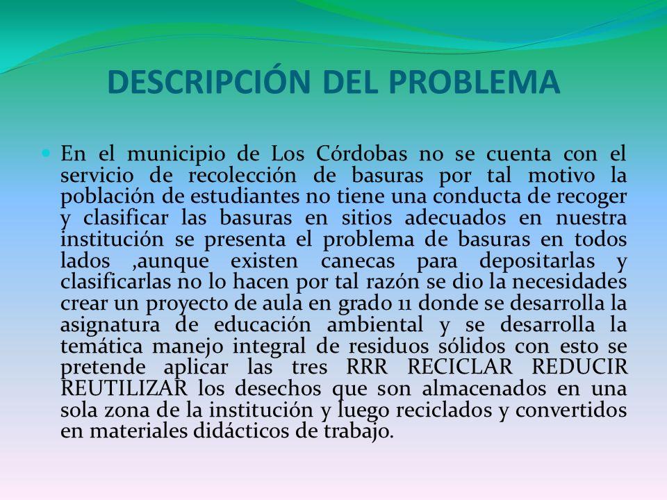 DESCRIPCIÓN DEL PROBLEMA En el municipio de Los Córdobas no se cuenta con el servicio de recolección de basuras por tal motivo la población de estudia