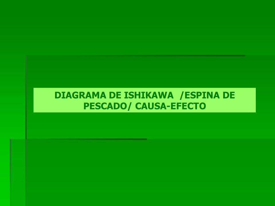 El Diagrama de Ishikawa, e s una de las herramientas graficas más eficaces y más utilizadas en acciones de mejoramiento y control de calidad en las organizaciones, ya que permite, de una forma sencilla, agrupar y visualizar las razones que han de estar en el origen de un cualquier problema o resultando que se pretenda mejorar.