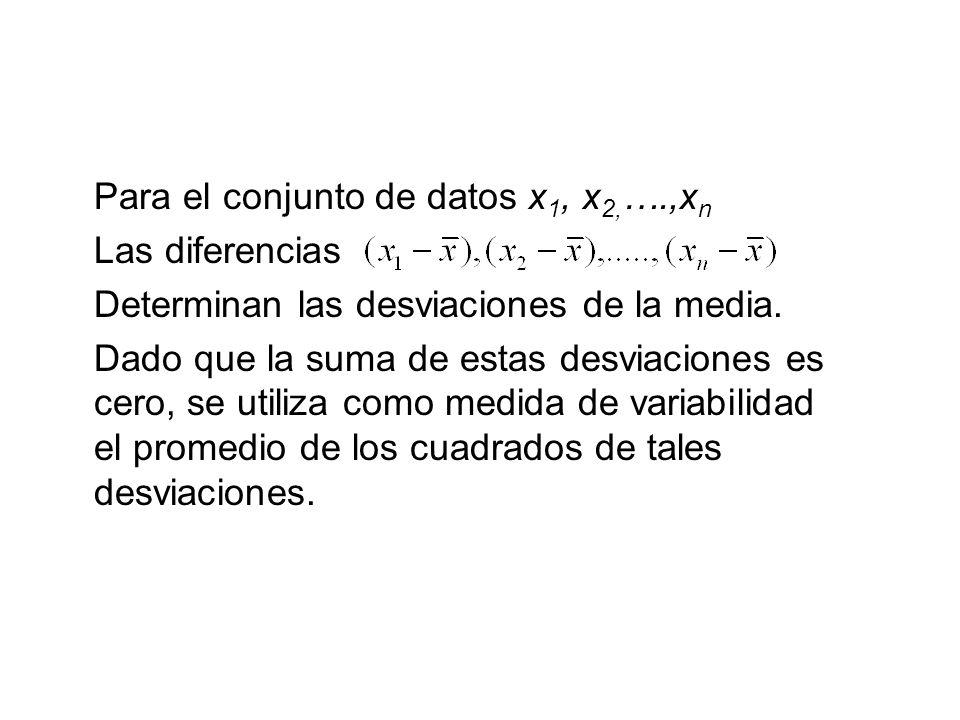 Para el conjunto de datos x 1, x 2, ….,x n Las diferencias Determinan las desviaciones de la media. Dado que la suma de estas desviaciones es cero, se