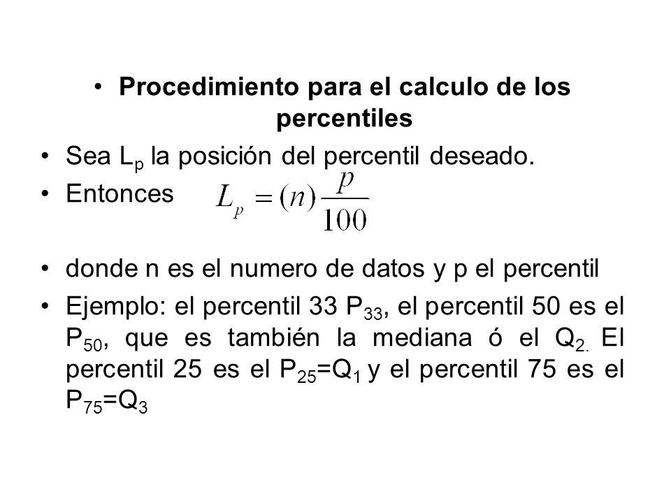 Procedimiento para el calculo de los percentiles Sea L p la posición del percentil deseado. Entonces donde n es el numero de datos y p el percentil Ej