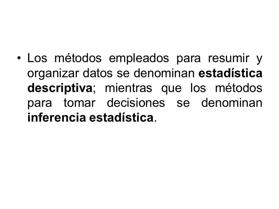 Los métodos empleados para resumir y organizar datos se denominan estadística descriptiva; mientras que los métodos para tomar decisiones se denominan