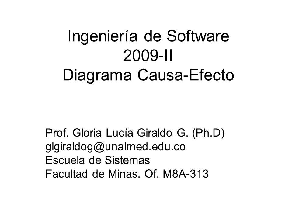 Ingeniería de Software 2009-II Diagrama Causa-Efecto Prof. Gloria Lucía Giraldo G. (Ph.D) glgiraldog@unalmed.edu.co Escuela de Sistemas Facultad de Mi