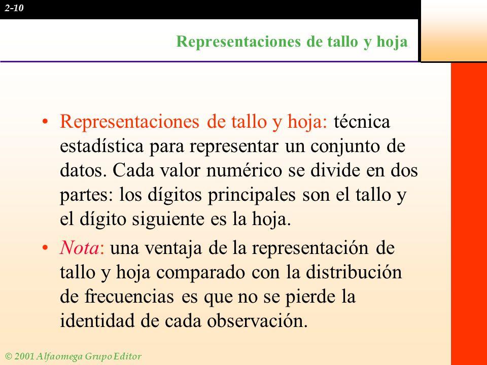 © 2001 Alfaomega Grupo Editor EJEMPLO 2 Colin logró las siguientes calificaciones en el doceavo examen de contabilidad del semestre: 86, 79, 92, 84, 69, 88, 91, 83, 96, 78, 82, 85.