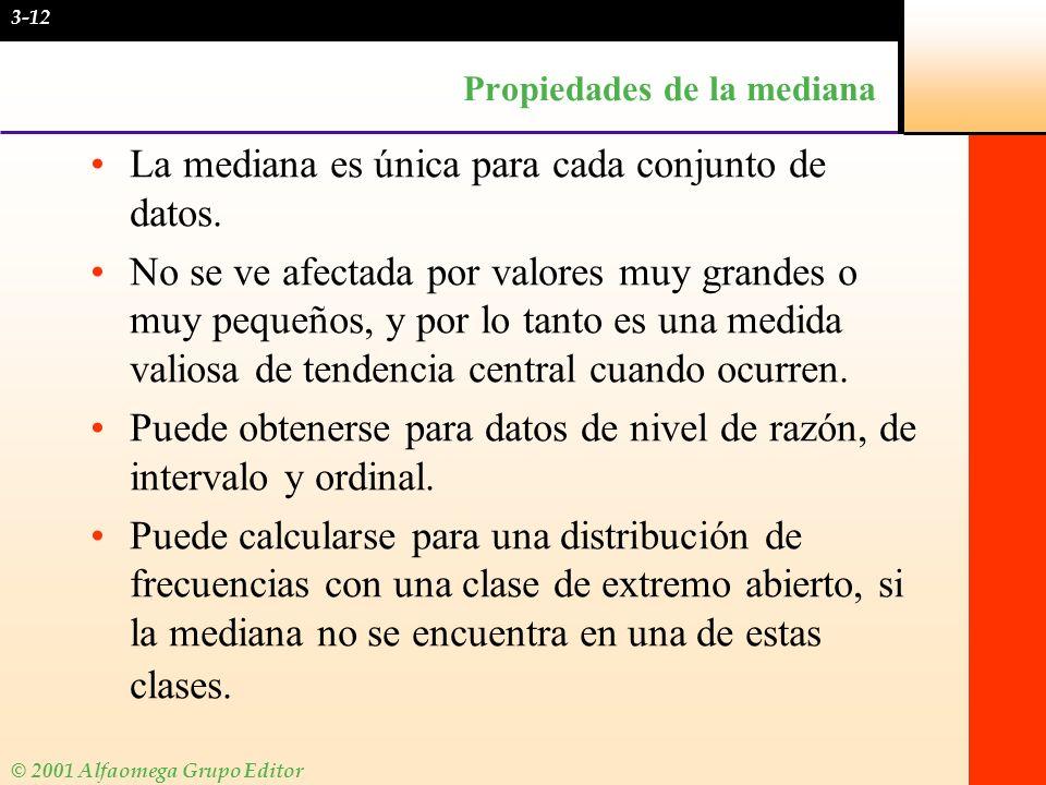 © 2001 Alfaomega Grupo Editor Propiedades de la mediana La mediana es única para cada conjunto de datos. No se ve afectada por valores muy grandes o m